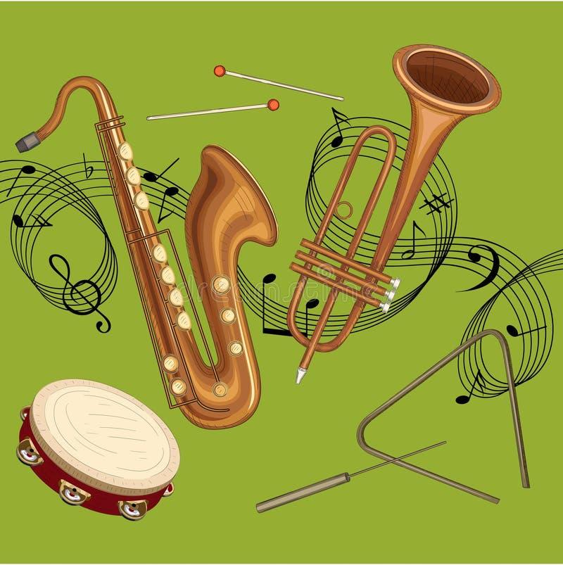 Zielony tło z notatkami i instrumentami muzycznymi ilustracji