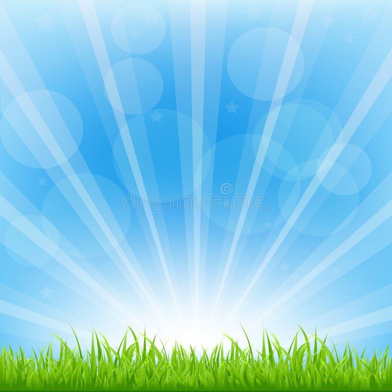 Zielony tło Z Sunburst royalty ilustracja