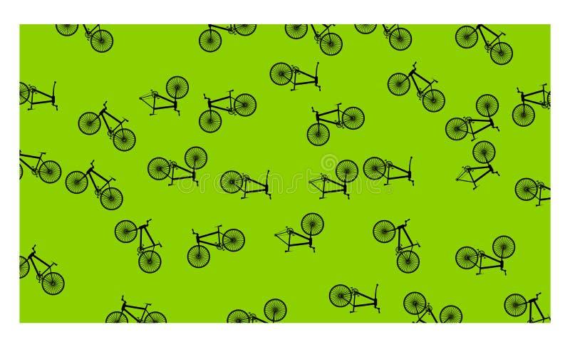 Zielony tło z wiele bicyklami - wektorowa ilustracja ilustracji