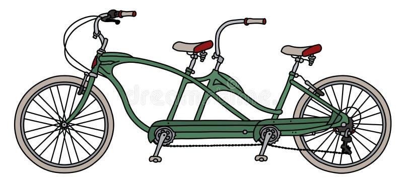 Zielony tandemowy bicykl ilustracji