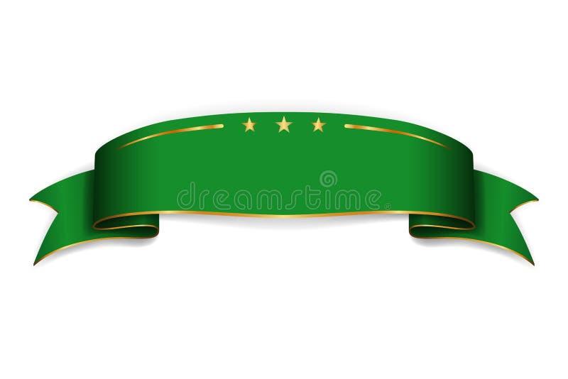 Zielony tasiemkowy sztandar Atłasowy glansowany łęku puste miejsce Projektuje etykietki ślimacznicy faborku pustego element odizo ilustracja wektor