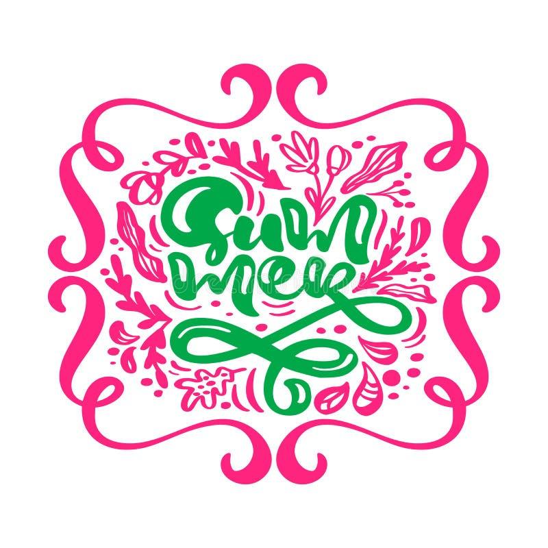 Zielony teksta lato w czerwonych kwiecistych liściach rozkwita ramę Ręka rysująca piszący list kaligrafia wektoru ilustrację Zwro ilustracji