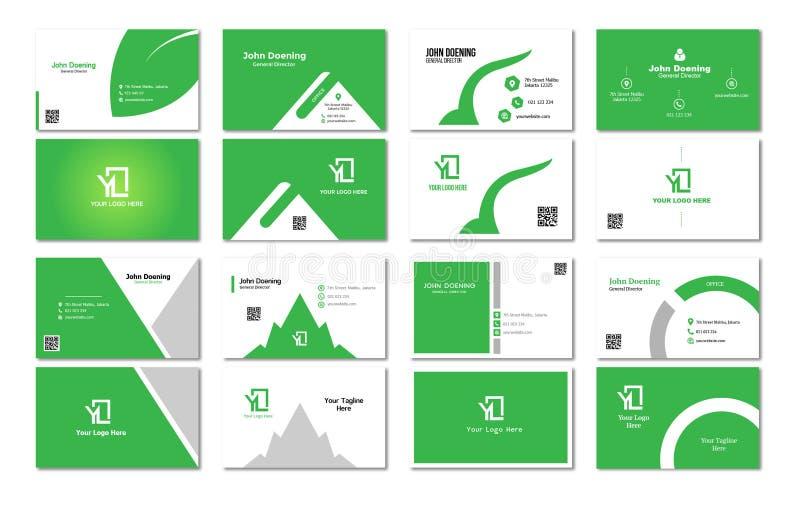 Zielony temat wizytówki projekt Niquebickin zdjęcie stock