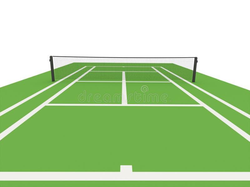 Zielony tenisowy sąd odpłacający się ilustracji