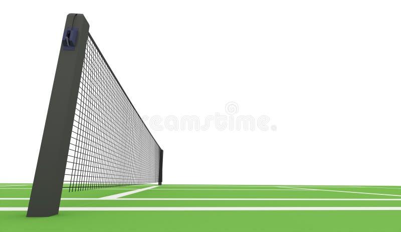 Zielony tenisowy sąd odpłacający się na bielu ilustracja wektor