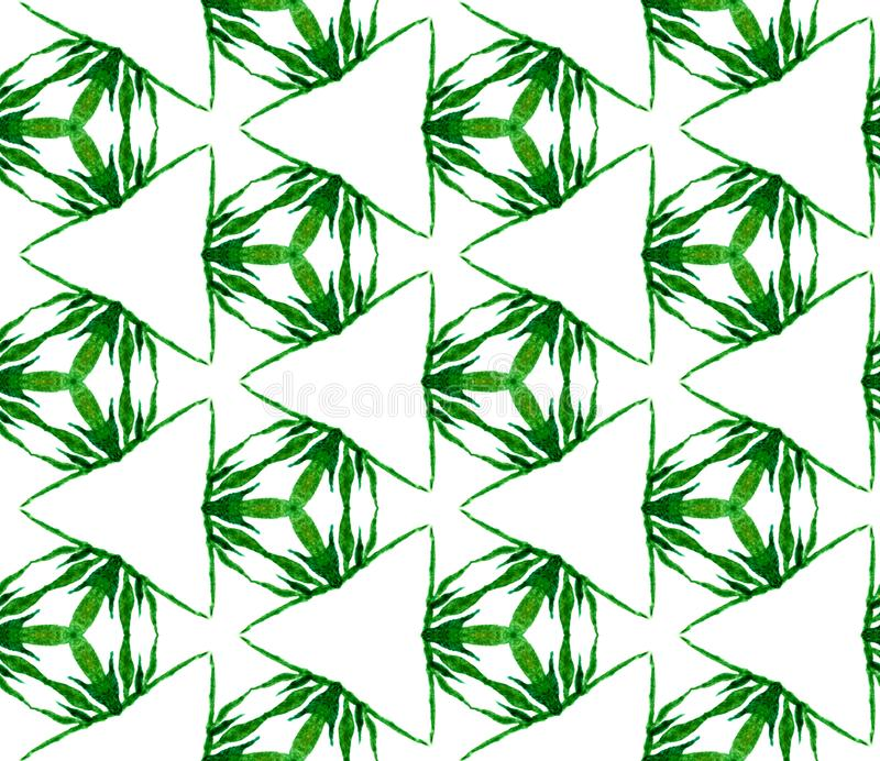 Zielony trójgraniasty bezszwowy wzór Ręka rysujący wate ilustracja wektor