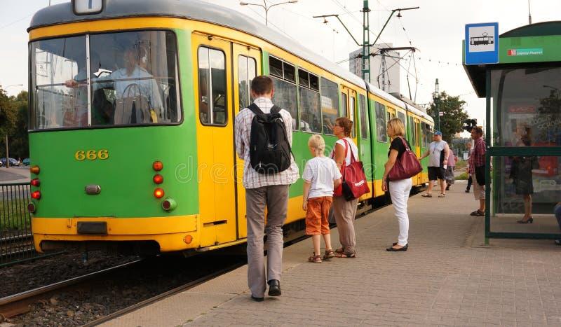 zielony tramwaj fotografia royalty free