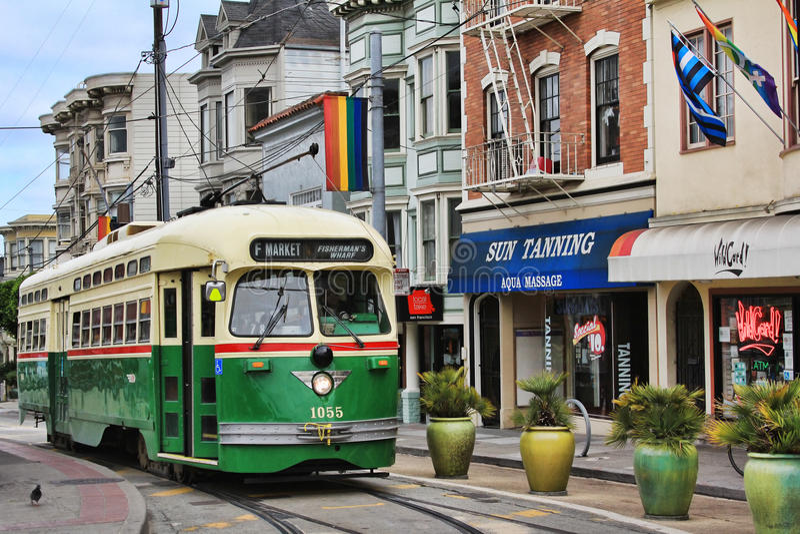 zielony tramwaj obrazy stock
