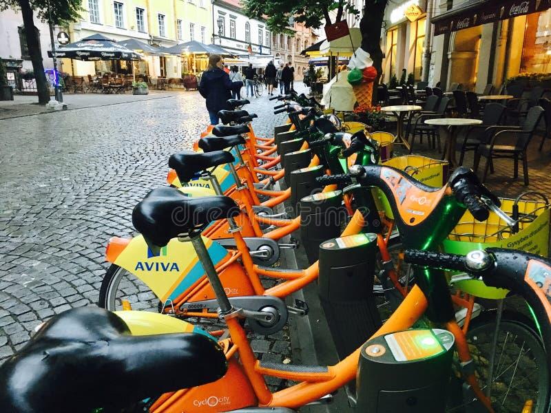 Zielony transport w Vilnius obraz stock