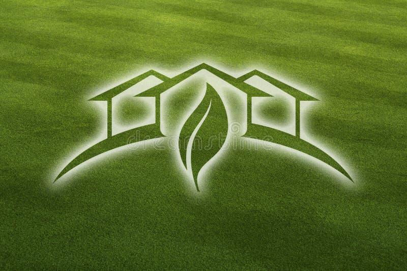 zielony trawa rżnięty świeży ghosted dom ilustracji