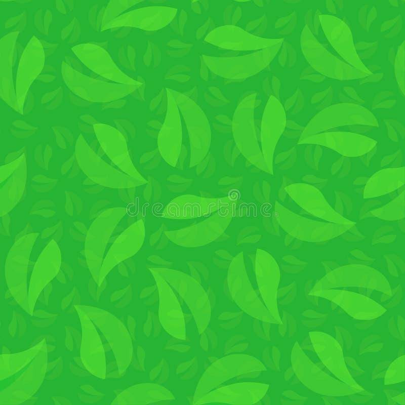 Zielony ulistnienie drzewo, Zapętlający bezszwowy tło wzór ilustracji