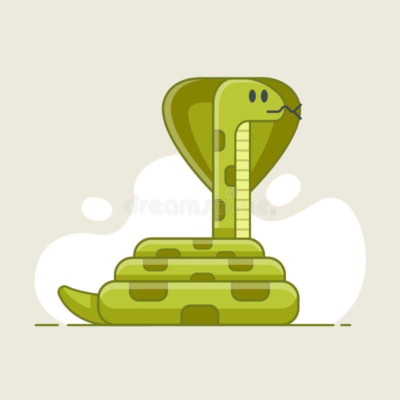 Zielony wąż który patrzeje zdobycza niebezpieczny ilustracja wektor