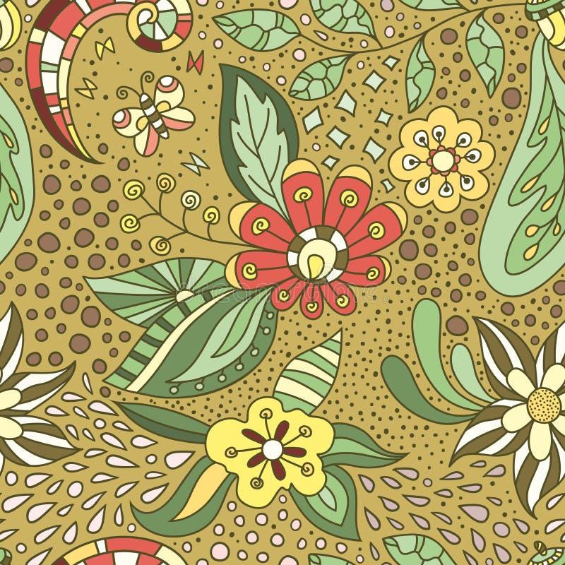 Zielony wektorowy kwiecisty tło z ręcznie robiony wzorem royalty ilustracja