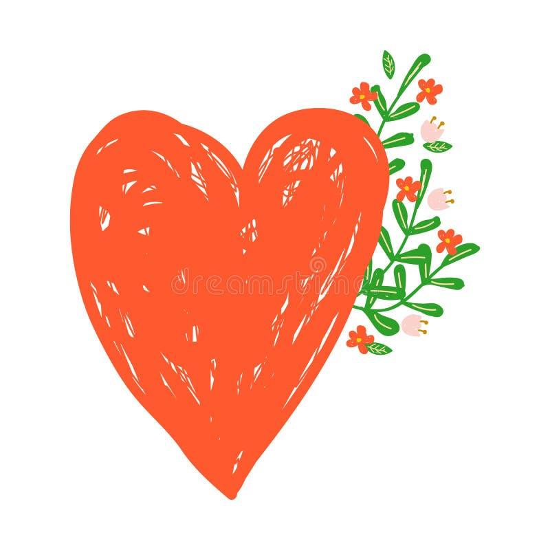 Zielony wektorowy majcher czerwony serce i kwiaty w ręka rysującym stylu odznaka ilustracji