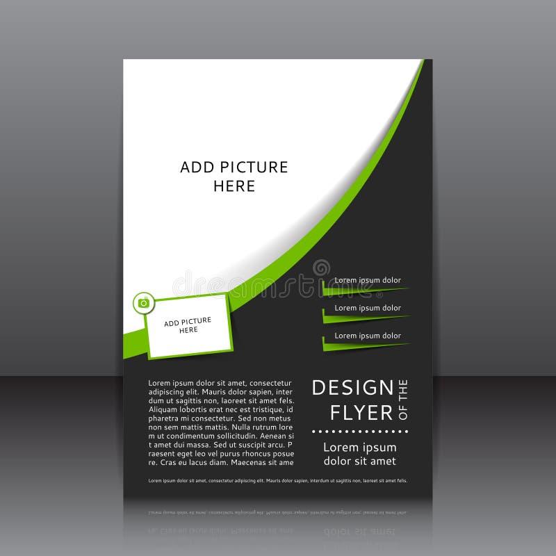 Zielony wektorowy projekt ulotka z miejscem dla obrazka i zieleni elementów ilustracja wektor