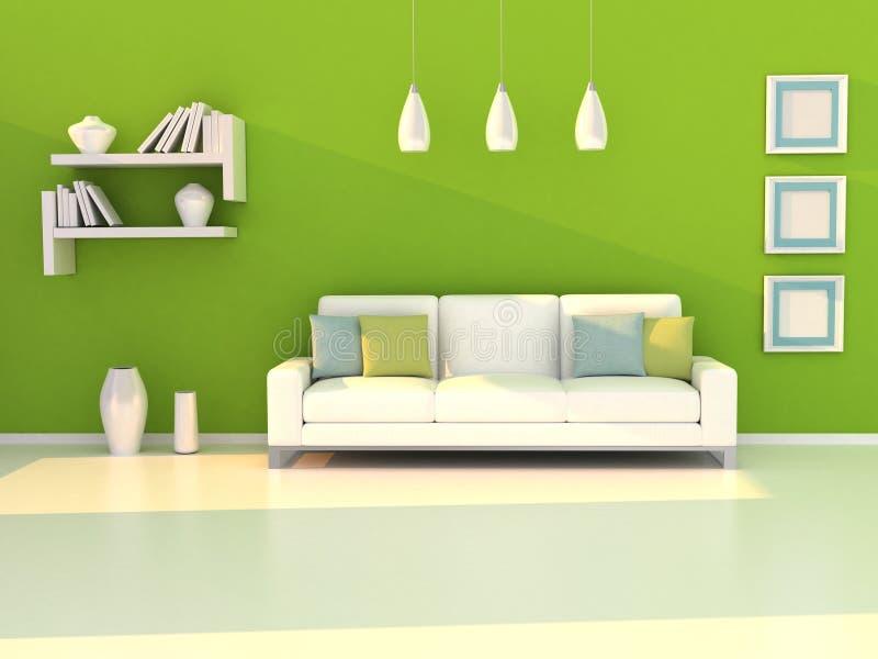 zielony wewnętrzny nowożytny pokoju ściany biel royalty ilustracja