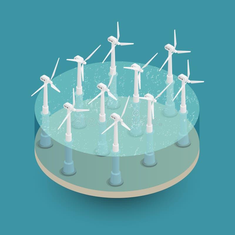 Zielony Wiatrowej energii Isometric skład royalty ilustracja