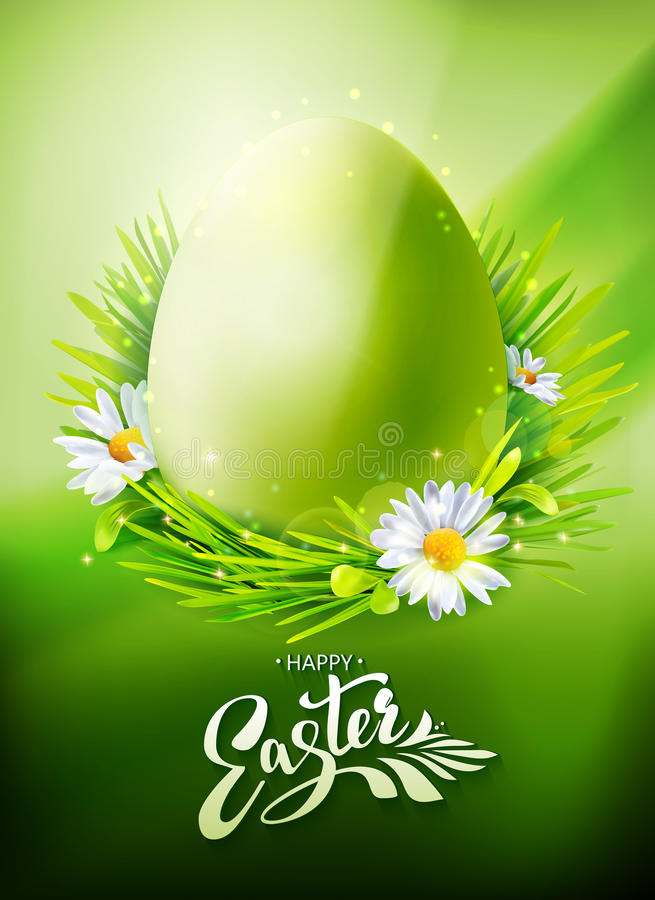 Zielony Wielkanocnego jajka polowania plakat ilustracji