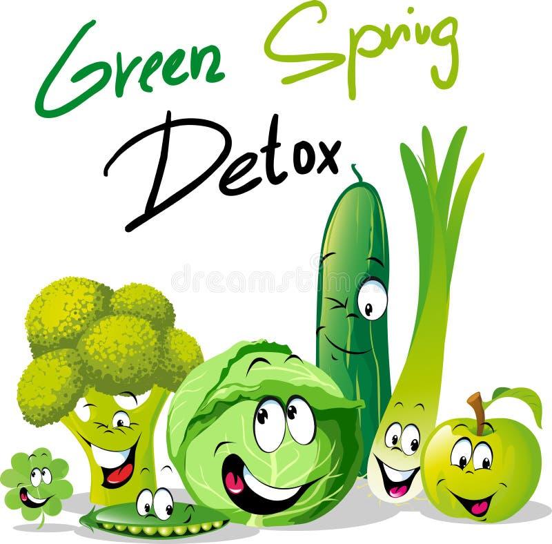 Zielony wiosny Detox - śmieszny wektorowy projekt z warzywem ilustracja wektor