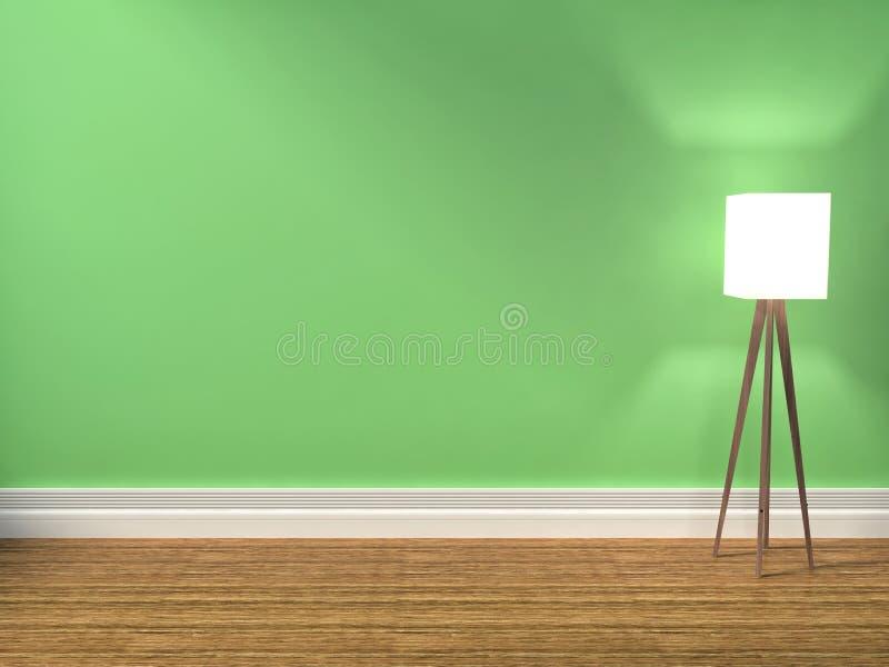 Zielony wnętrze z lampą 3d iilustration royalty ilustracja