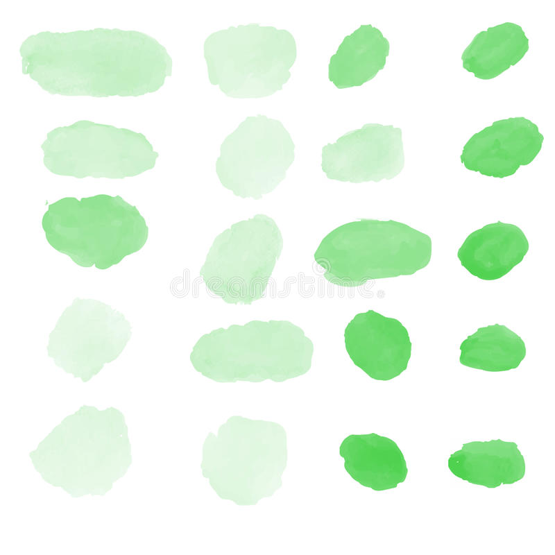 Zielony wodny colour szczotkuje wektorową kolekcję royalty ilustracja