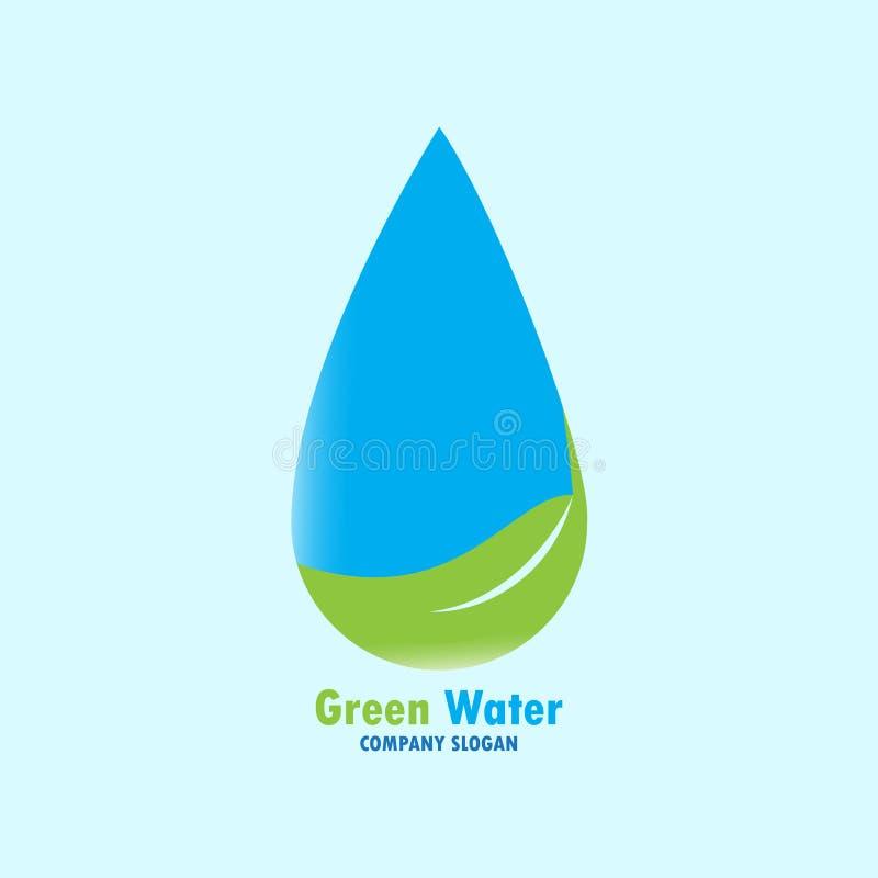 Zielony wodny logo projekt ilustracja wektor
