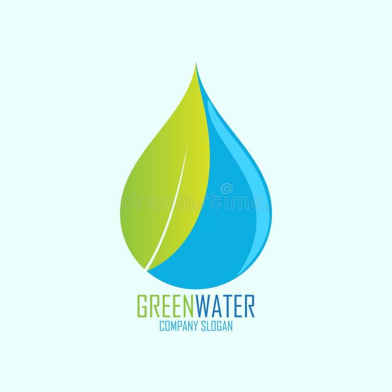 Zielony wodny logo projekt ilustracji