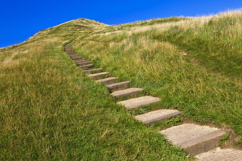 Zielony wzgórze od Glastonbury Tor fotografia stock