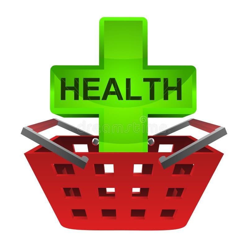 Zielony zdrowie krzyż w czerwonym koszykowym wektorze royalty ilustracja