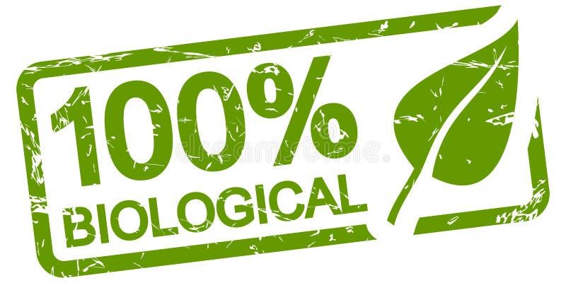 zielony znaczek 100% BIOLOGICZNY royalty ilustracja