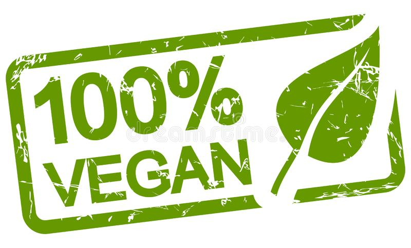 zielony znaczka 100% weganin ilustracji