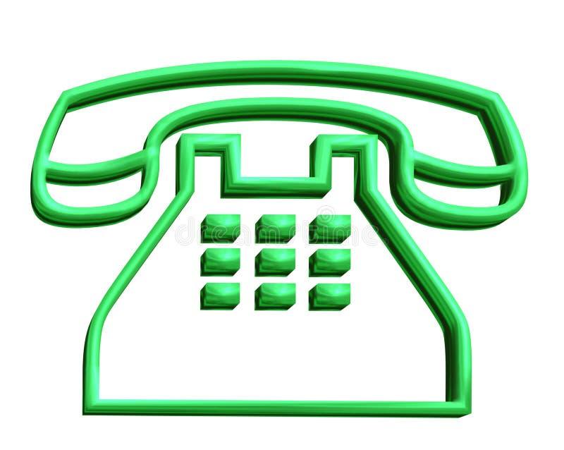 zielony znak telefon 3 d royalty ilustracja