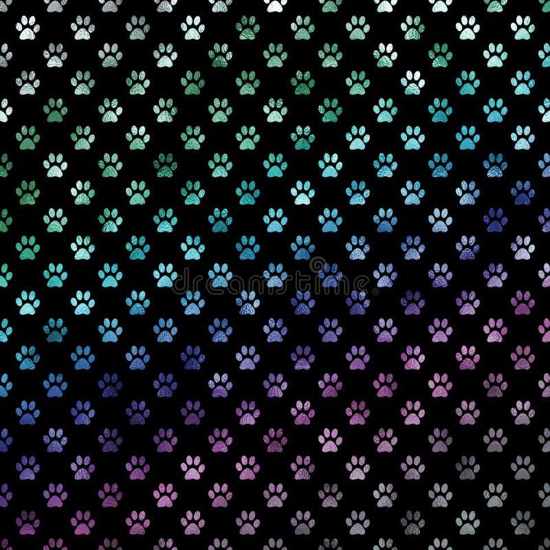 Zielonych Błękitnych Purpurowych tęcza psa łap polki kropki łapy wzoru Kruszcowy Foliowy tło royalty ilustracja