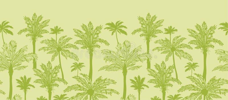 Zielonych drzewek palmowych horyzontalny bezszwowy wzór ilustracji