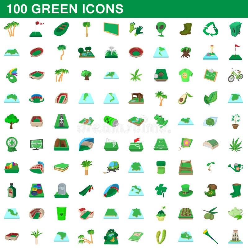 100 zielonych ikon ustawiających, kreskówka styl ilustracji