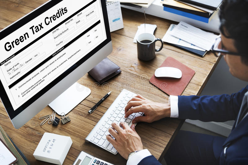 Zielonych kredytów podatkowych Inwestorski oszczędzanie Debatuje pojęcie zdjęcia royalty free
