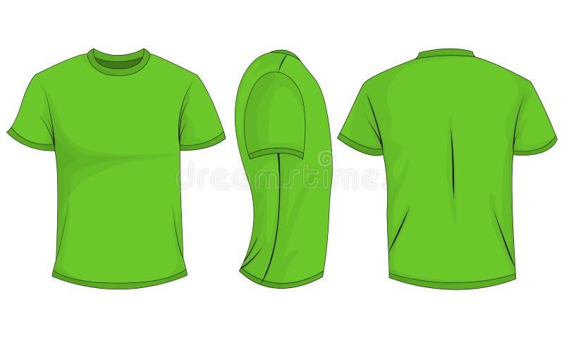 Zielonych mężczyzn koszulka z krótkimi rękawami przód, plecy, boczny widok pojedynczy białe tło ilustracja wektor