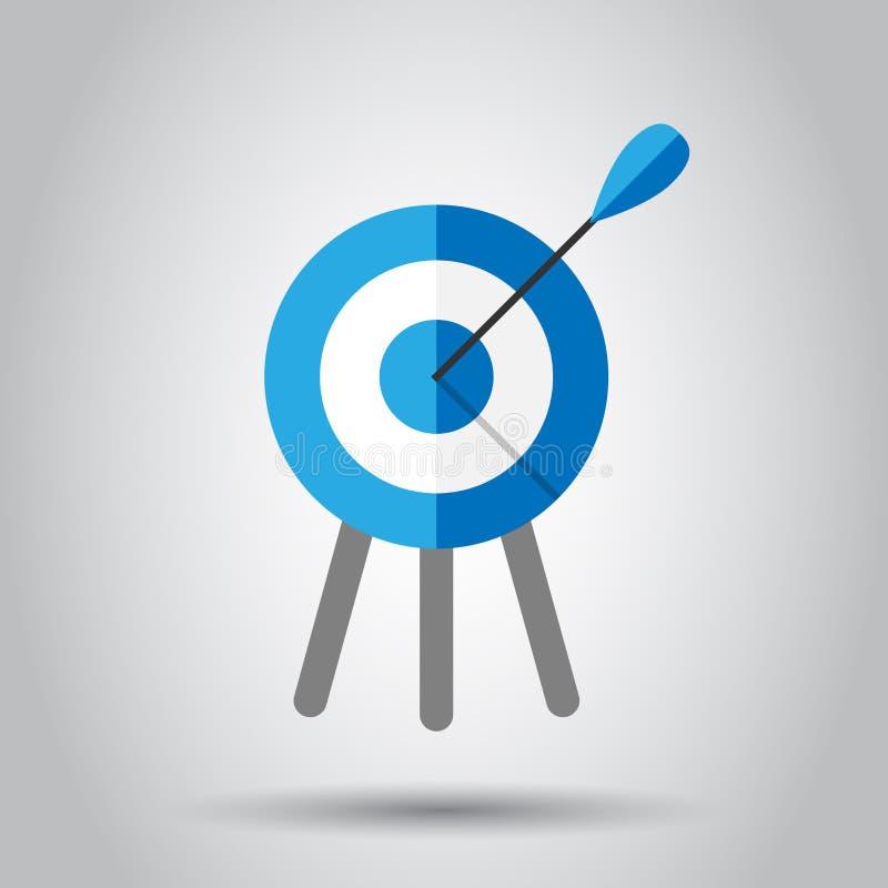 Zielziel-Vektorikone in der flachen Art Pfeilspielillustration auf weißem Hintergrund Dartscheibesport-Zielkonzept lizenzfreie abbildung