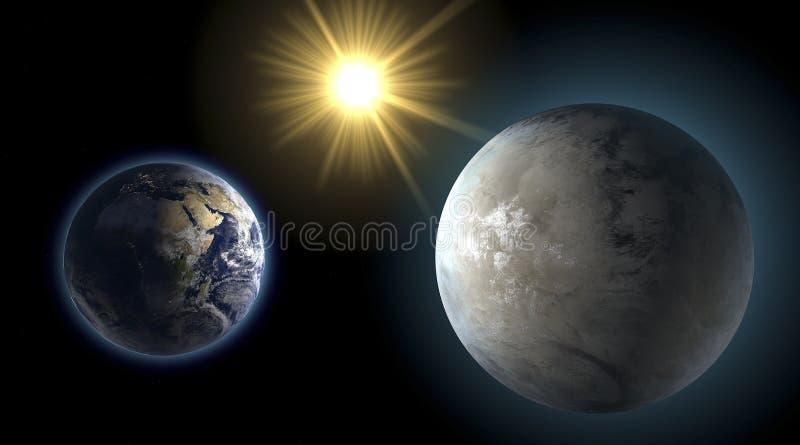 Ziemi i Kepler 452 b, siostrzana planeta, porównanie royalty ilustracja