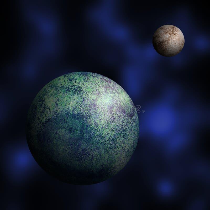 Ziemi i księżyc akwareli ilustracja ilustracji
