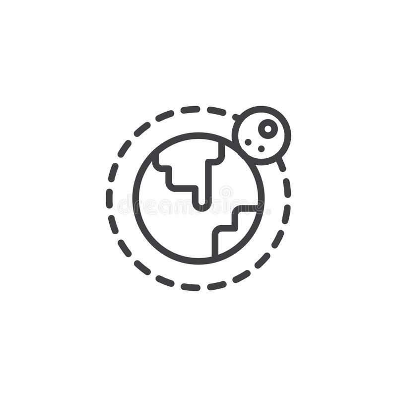 Ziemi i księżyc orbity konturu ikona ilustracji