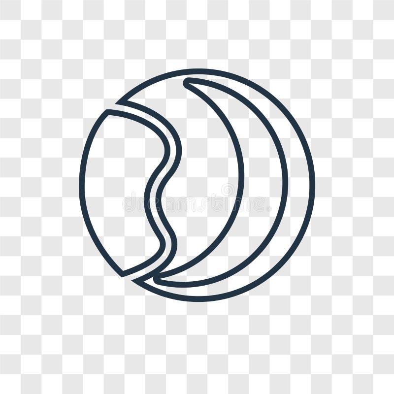 Ziemi i księżyc pojęcia wektorowa liniowa ikona odizolowywająca dalej transparen ilustracji