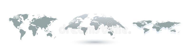 Ziemi mapy różne kuli ziemskiej ilustraci mapy rozdzielać wektorowego świat Ziemska mapa w trzy projekcie Ziemskie ikony ilustracja wektor