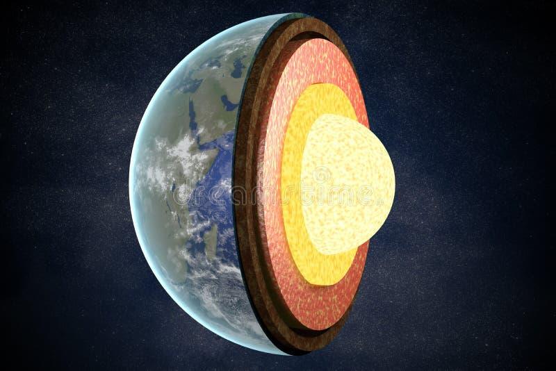 Ziemi struktura i warstwy ilustracja pozbawione 3 d royalty ilustracja