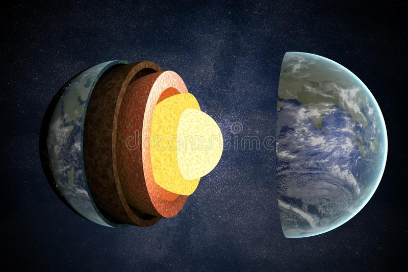 Ziemi struktura i warstwy ilustracja pozbawione 3 d ilustracji