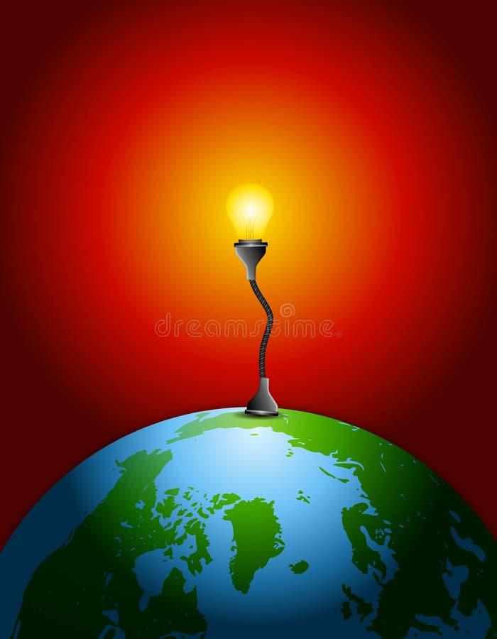 ziemia żarówkę źródło energii ilustracja wektor