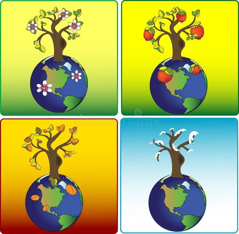 ziemia cztery sezonu royalty ilustracja