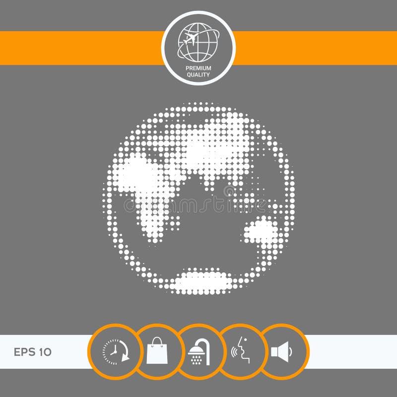 Ziemia - halftone logo ilustracja wektor