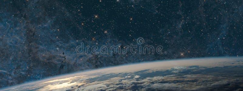 Ziemia i galaxy Nocne niebo przestrzeń zdjęcia royalty free