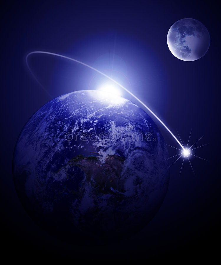 Ziemia i księżyc royalty ilustracja